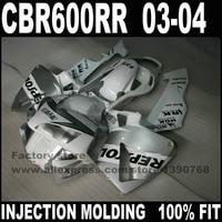 Road/race motorcycle part for CBR 600 RR 2003 2004 fairings kits 03 04 CBR600RR white repsol fairing bodykits