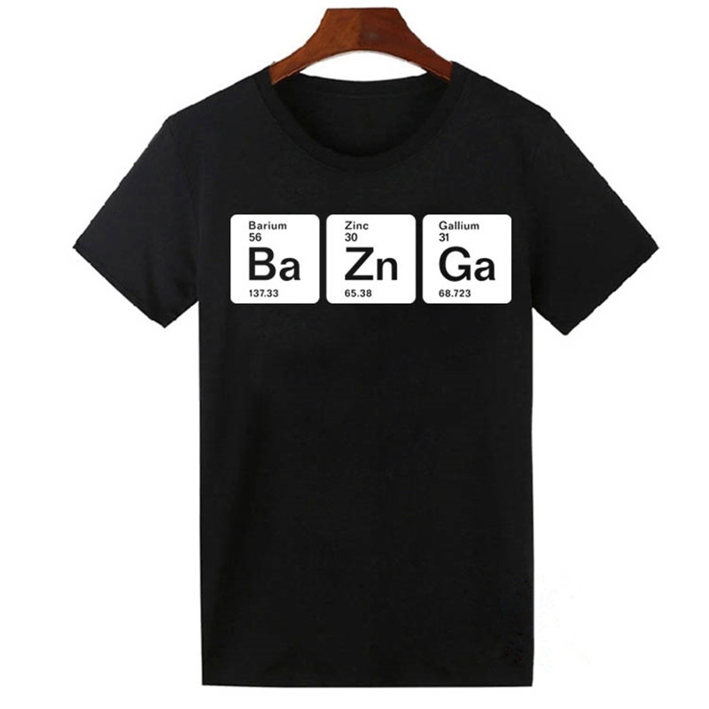 Bazinga Periodic Elements Funny Big Bang Theory T Shirt Men Women Casual Swag Hipster Tops Tee Shirts Tshirt Cotton Cool T-shirt
