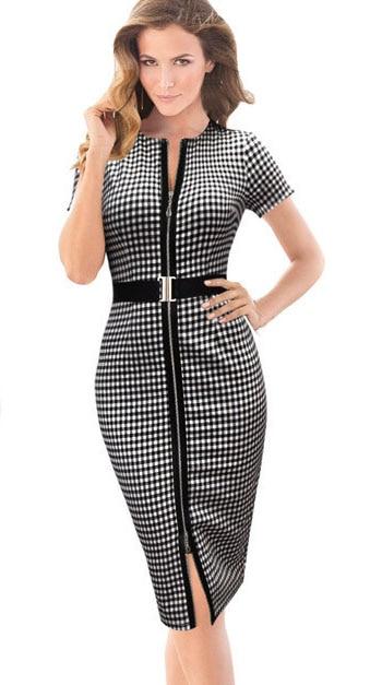 esale womens elegant plaid color block front zipper belted sheath work business office pencil party bodycon casual dress ca - Color Block Vetement