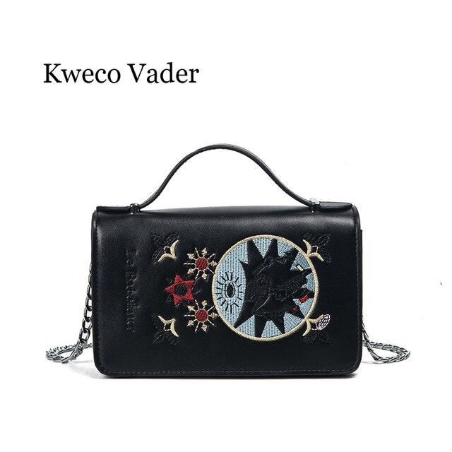 5c26b99e0edaa Kweco Vader Frauen Handtaschen 2017 Retro Sticken Designer Kette  Umhängetasche Kleine Quadrat Handtasche dame Kupplungen Bolsos