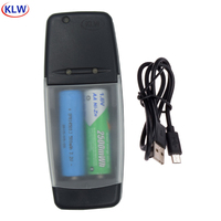 2 slots USB Inteligente Carregador de Bateria Recarregável para 1.6 V NI-ZN LiFePo4 14500 10440 ponta carregador inteligente de bateria AA AAA
