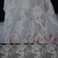 High Quality Jacquard Mesh Wedding Dress Lace Fabric Classic Black White Hollow Lace Cloth Guipure Cord