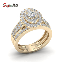 Szjinao Fashoin Yellow Gold Cover 925 Sterling Silver Rings Set AAA CZ Real 925 Silver Wedding Jewelry With Gift Box Wholesale