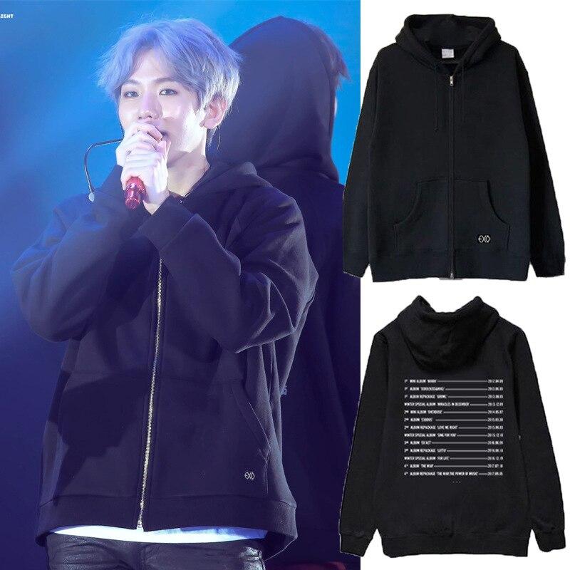 Kpop exo толстовки четыре концерта Тур Elyxion толстовка на молнии пальто k pop свитшоты exo для мужчин и женщин harajuku осенне зимняя одежда