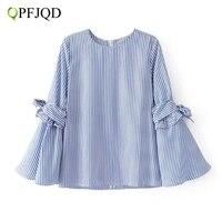 QPFJQD Women Sweet Bow Tie Stripe Shirt Split Flare Sleeve O Neck Blouse European Style Ladies