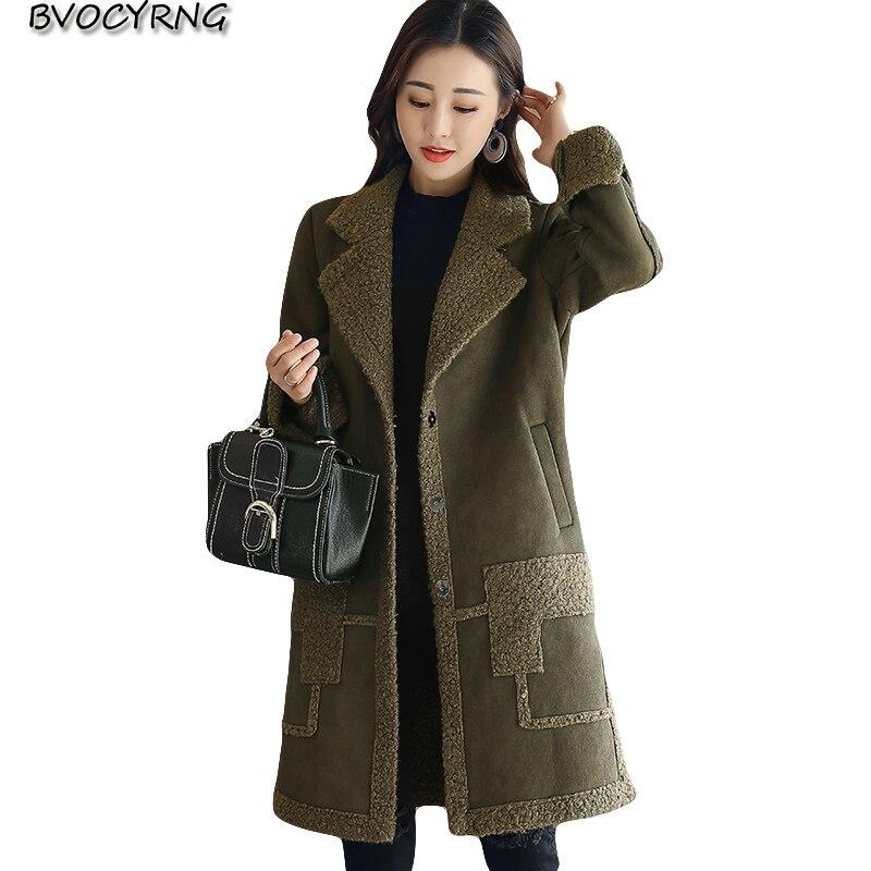 2017new в Корейском стиле высокого качества из овечьей шерсти женские зимняя верхняя одежда больших размеров куртка Женский пальто средней дл...