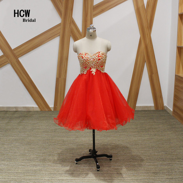39a126605 Red Ball Gown Short Homecoming Dresses 2019 New Sweetheart Lace Up Crystals  Tulle Gold Lace Sexy Homecoming Party Gowns Cheap