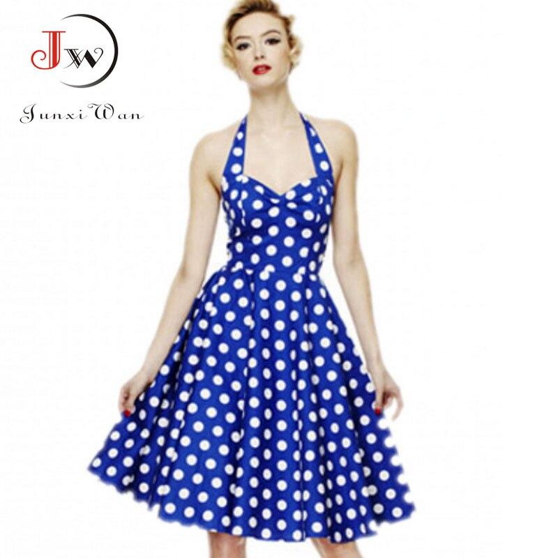 Women Polka Dot Dress Summer Hepburn 50s 60s Vintage Dress  A-Line Halter Rockabilly Retro Party Dresses Vestidos