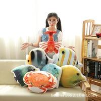 Créatures aquatiques Le homard crabe de bande dessinée en peluche jouet poupée marine poissons tropicaux oreiller cadeau d'anniversaire