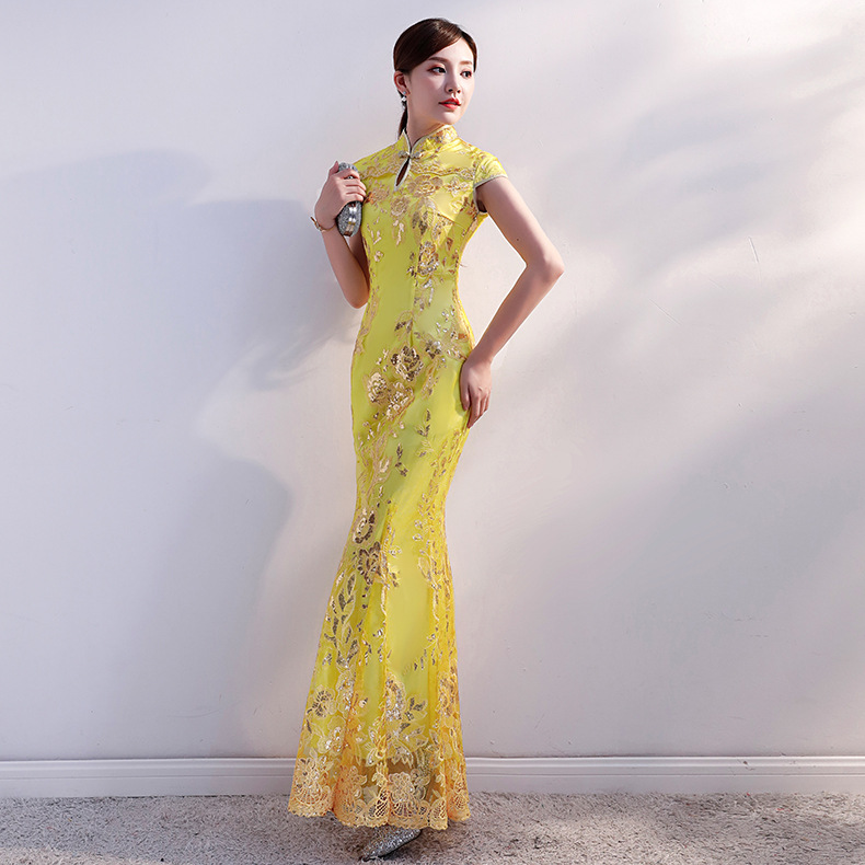 Yellow Sequin Cheongsam Long Qipao Dresses Chinese Traditional Wedding Dress China Clothing Store Vestido Oriental Plus Size 4XL