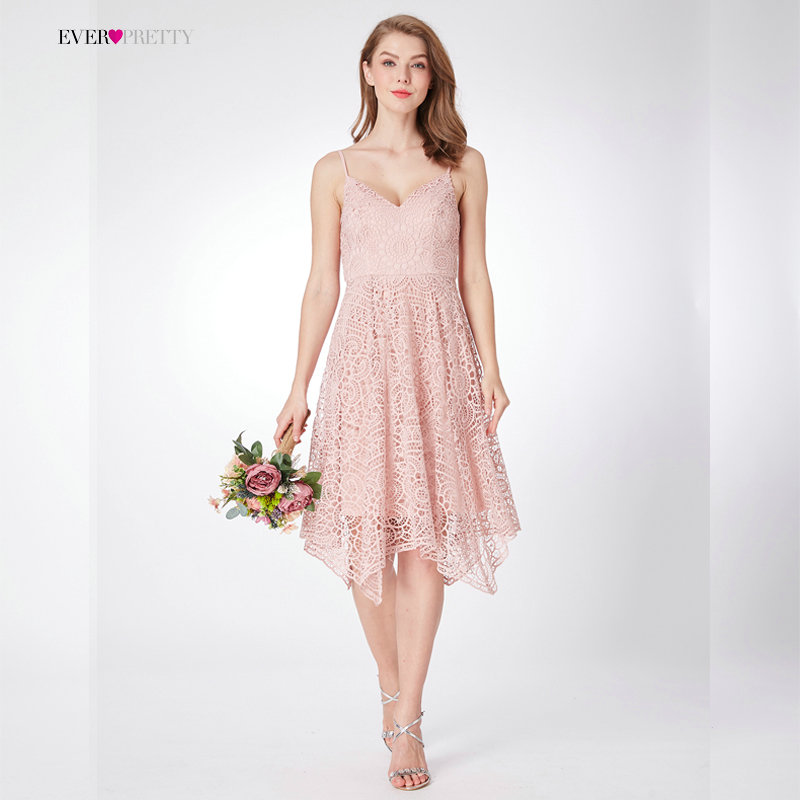 New   Bridesmaid     Dresses   Ever Pretty EP04036 Women's 2018 Wedding A-line Lace Pink Backless V-Neck Cheap Homecoming Party   Dresses