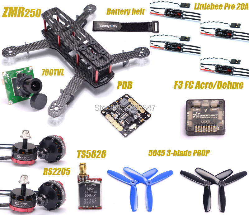 ZMR250 250 Carbon Fiber F3 Flight Controller RS2205 2300KV Motor LittleBee 20A PRO ESC 700TVL Camera TS5828 for QAV250 RC Plane rc plane 210 mm carbon fiber mini quadcopter frame f3 flight controller 2206 1900kv motor 4050 prop rc