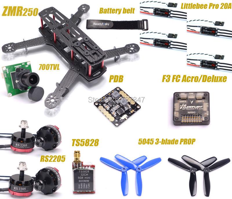 ZMR250 250 Kohlefaser F3 Flight Controller RS2205 2300KV Motor LittleBee 20A PRO ESC 700TVL Kamera TS5828 für QAV250 RC flugzeug