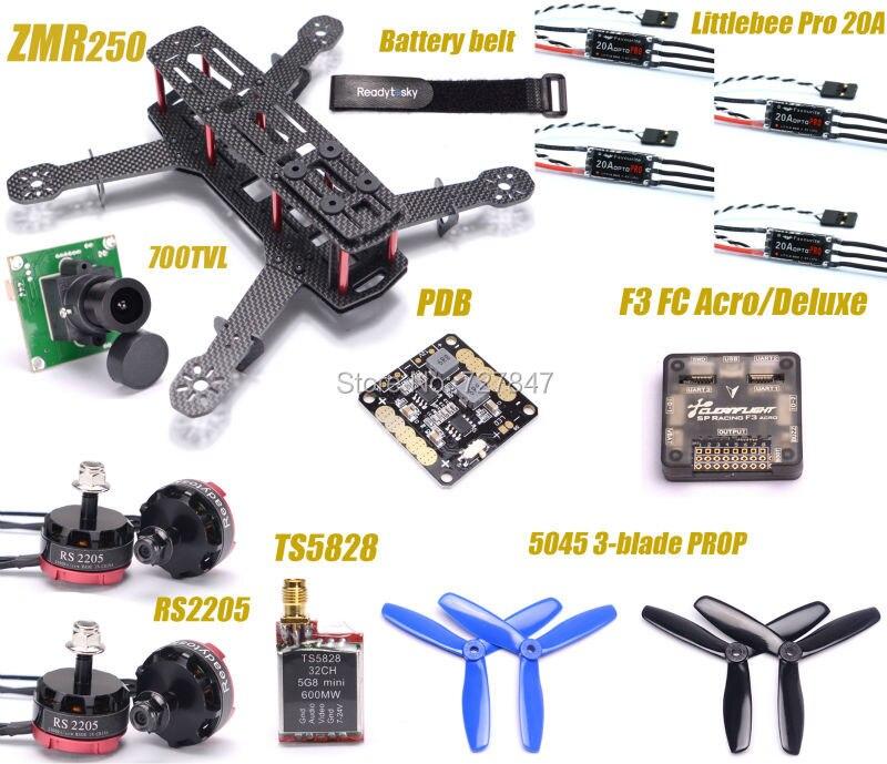Zmr250 250 углерода Волокно F3 Игровые джойстики rs2205 2300kv Двигатель Пчелка 20A Pro ESC 700TVL Камера ts5828 для qav250 rc самолет