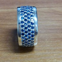 925 Silver Men's Jewelry Pave Blue Sapphire Stones Band Ring 4 Row Pave White Black Diamonds band Ring Free Shipping