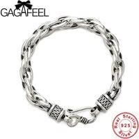 GAGAFEEL Vintage 925 Sterling Silver Men Bracelets Bangles 6 8MM Width Thai Silver Link Chain Bracelet