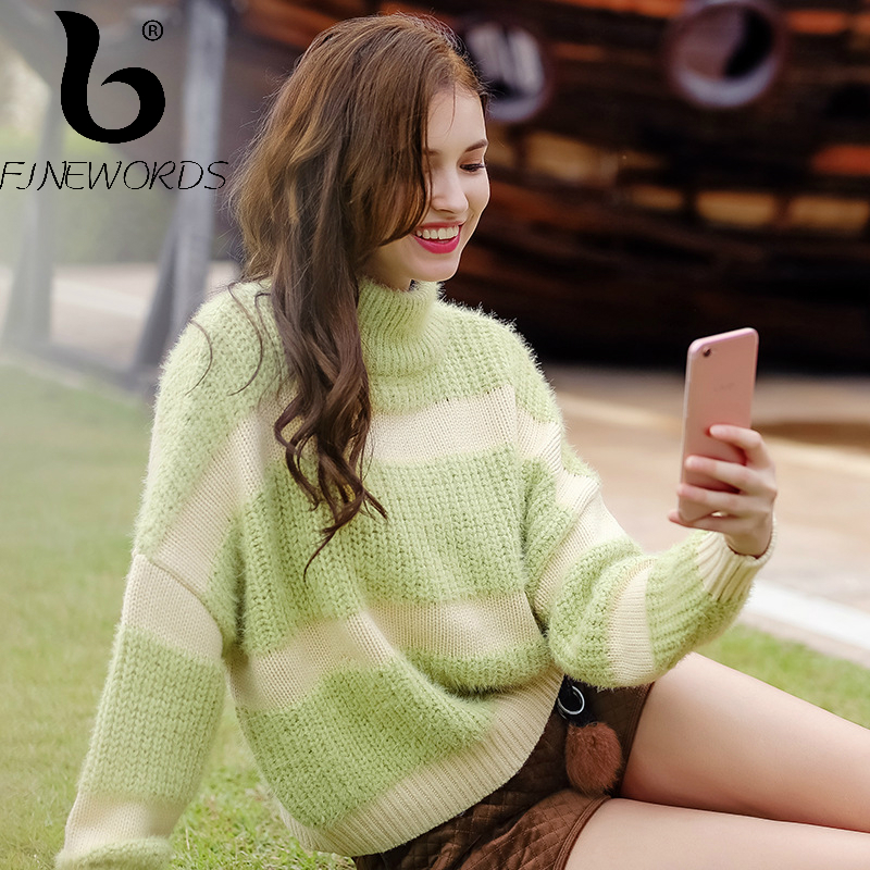 FINEWORDS Casual Knitted Pullover Striped Christmas Sweater Women Turtleneck Winter Loose Knit Sweater Long Sleeve pull femme