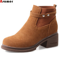 ASUMER Black Fashion Autumn Winter Women Boots Round Toe Square Heel Ladies Boots Flock Ankle Boots