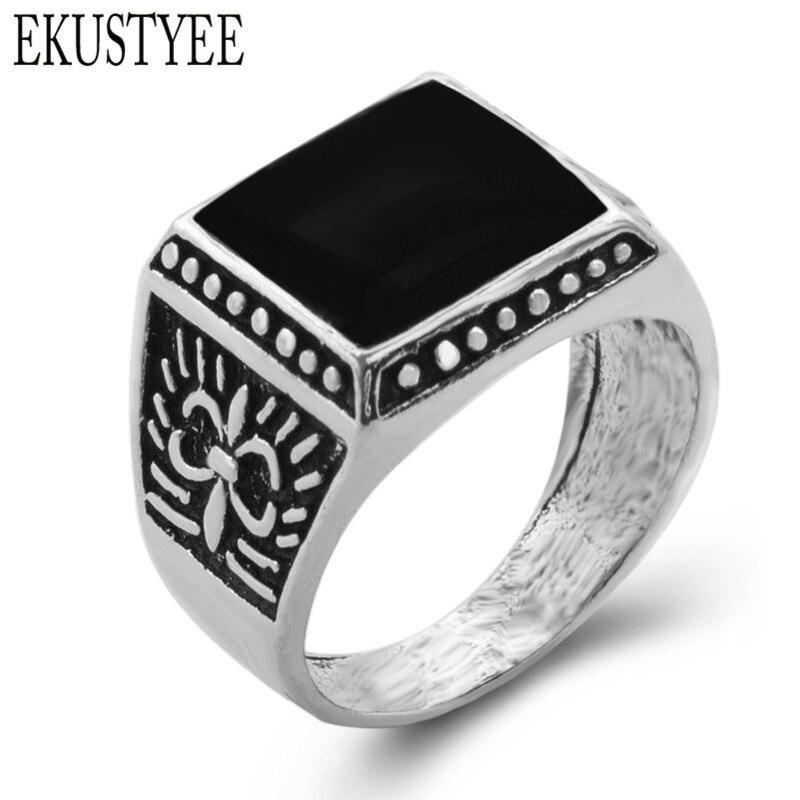 EKUSTYEE Vintage Imitation Square Stone Ring Black Semi-precious Stone Ring 2018 newest fashion Ancient silver Rings