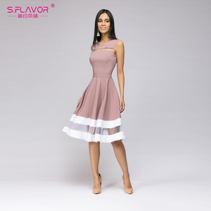 Image 5 - S. Lezzet bahar yaz kadın kolsuz elbise zarif Hollow Out Vestidos De Femme için plaj rahat Midi elbise 2020