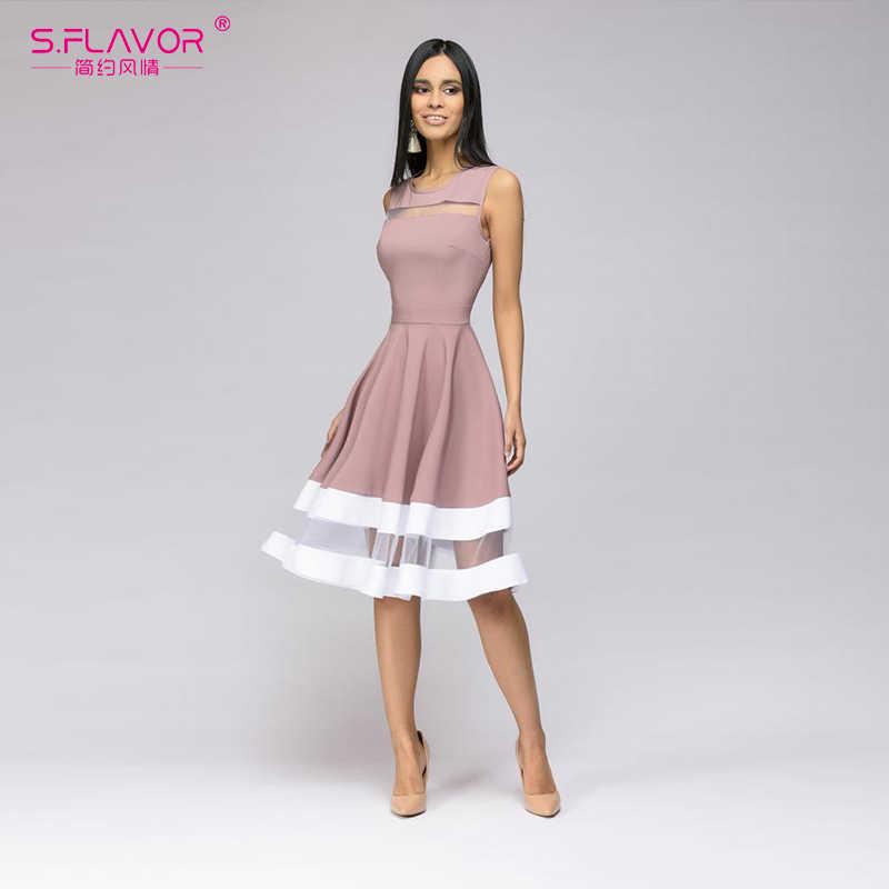 S. Smaak Lente Zomer Vrouwen Mouwloze Jurk Elegant Hollow Out Vestidos De Voor Femme Strand Casual Midi Dress 2020