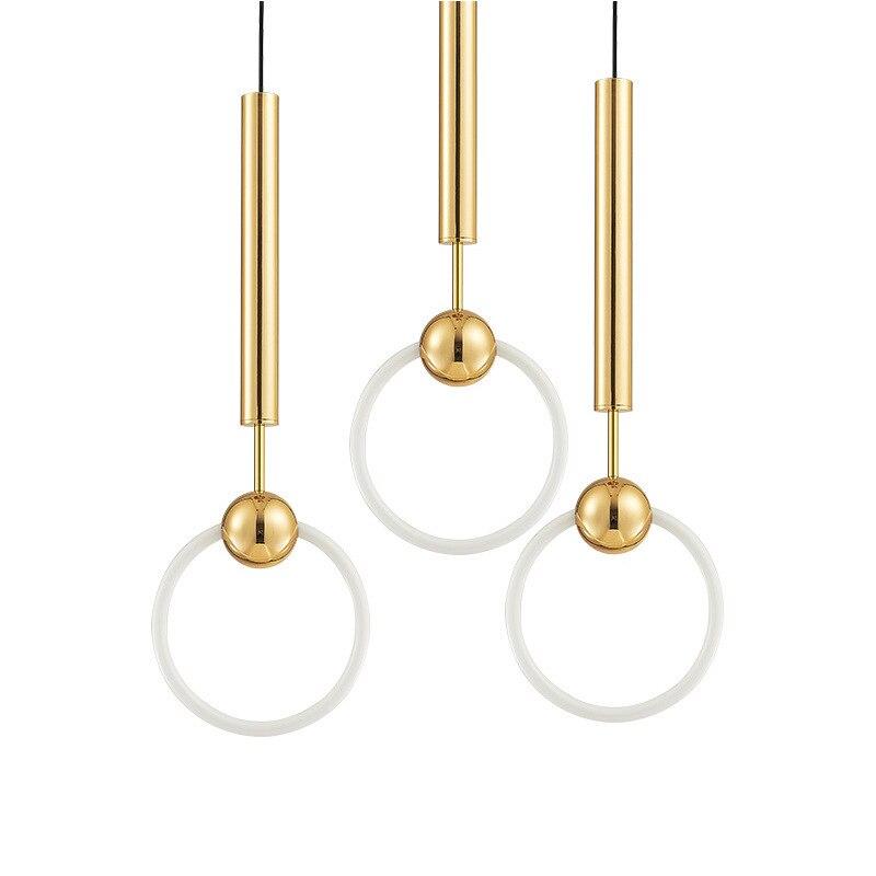 Moderne or pendentif lumières cercle anneau pendentif lampe pour salon Droplight T8 LED tube Suspension décor LED luminaire