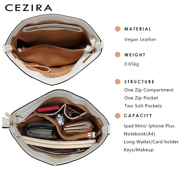 CEZIRA Designer Brand Women Bag Vegan Leather Fashion Tote Bags Female Large Capacity Shoulder Bags for Girls Patchwork Strip 4