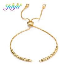 Juya DIY женское изготовление браслетов из металлической цепи для золота/серебра/розового золота Регулируемый разъем цепочки со скользящим элементом аксессуары