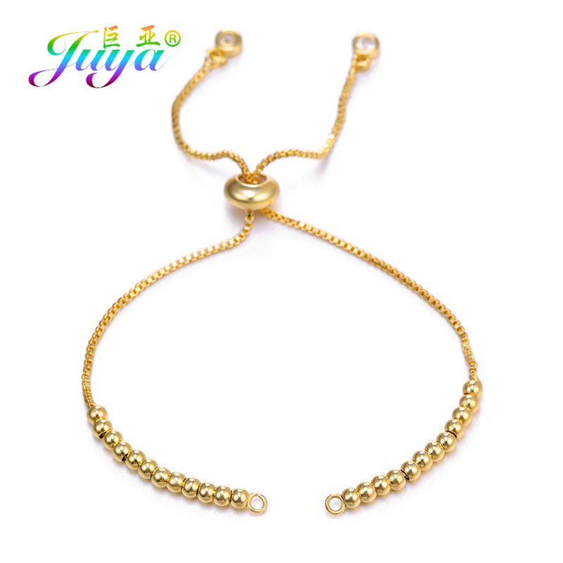 Juya DIY Women Bracelets Making Metal Chains Supplies For Gold/Silver/Rose Gold Adjustable Connector Slider Chains Accessories