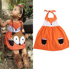 Hot Sweet Fox Girls Fancy Dress Animal Character Kids Girls Party Casual Sleeveless A Line Summer