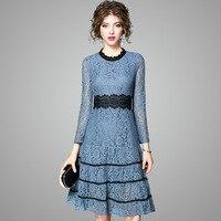 High Quality Marke Fashion Runway Kleid Frauen Elegante Langarm Herbst Kleid Stickerei Höhlen Midi Spitze Party Kleid XXL Größe