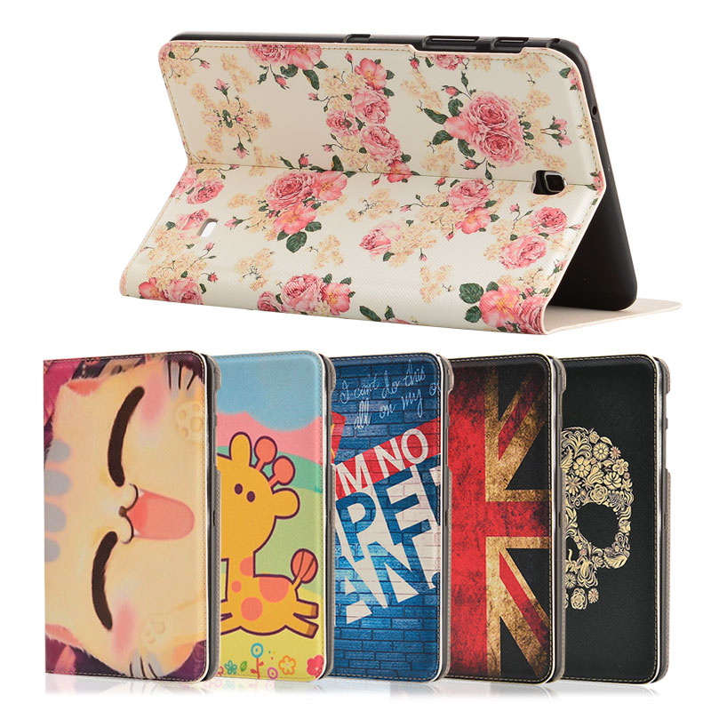 Fashion Painted Flip PU Leather For Samsung Galaxy Tab 4 8 T330 T331 T335 8.0 inch Tablet Smart Case Cover + Stylus