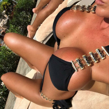 Vefinear Solid Bandage Metal Chain Suits Black Sexy Beach Vocation Casual Women Club