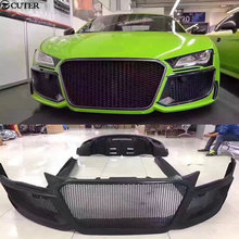 R8 FRP Unpainted front bumper rear side skirts grill for Audi Regula Car body kit 08-15