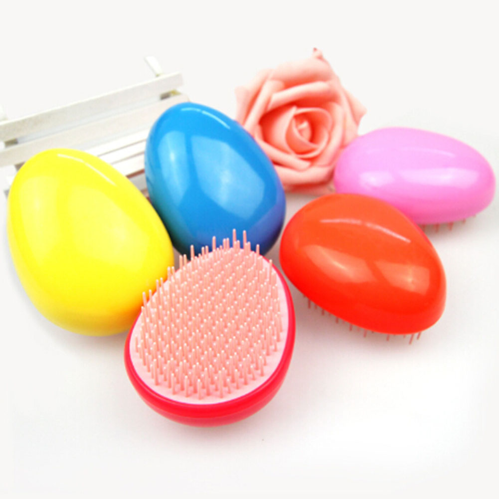 2018 Egg Shaped Plastic Hair Combs Compact Portable Anti-static Straight Hair Colorful Head Massage Combs 5 COLORS