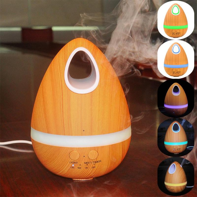 200ml USB LED Egg Wood Grain Portable Ultrasonic Aroma Humidifier Essential Oil Diffuser Aromatherapy With LED Light