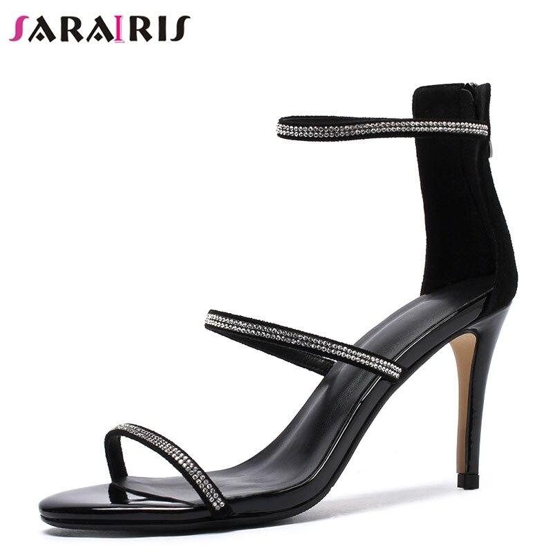 68e4bab71a128 Talons Femme Noir 43 Sarairis Mince Sexy Chaussures Hauts apricot Cristal D été  Gladiateur Enfant Sandales ...