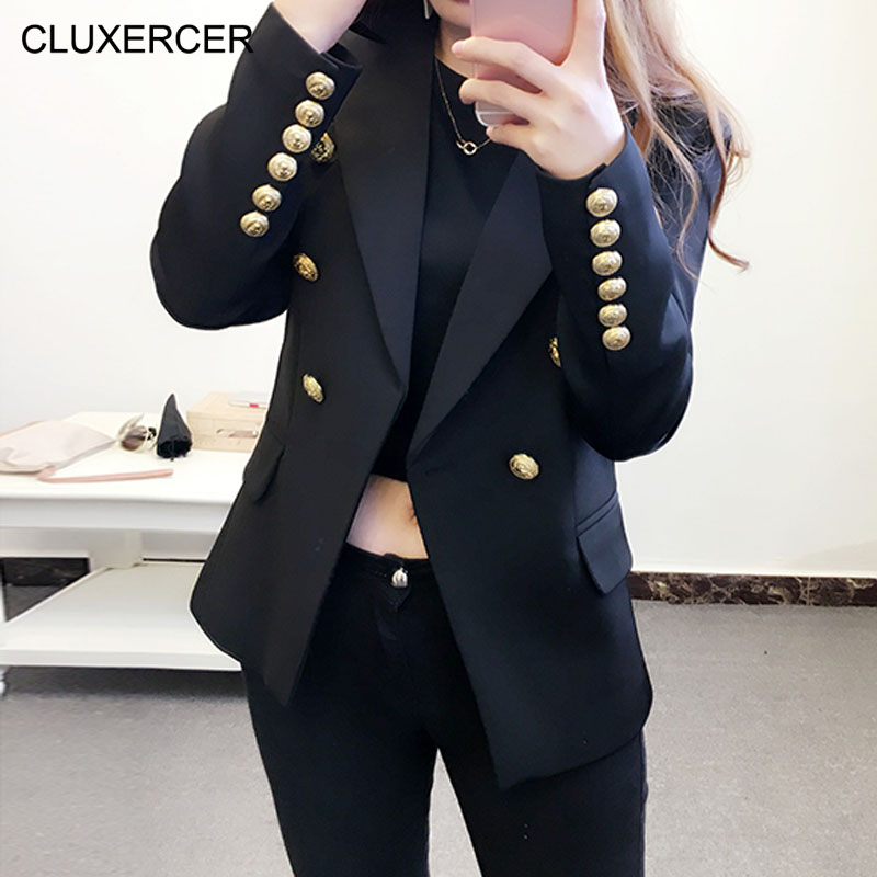 2017 Spring Blazer Women British Fashion Double Breasted Slim Suit Blazer feminino Button Jackets and Coats Blue