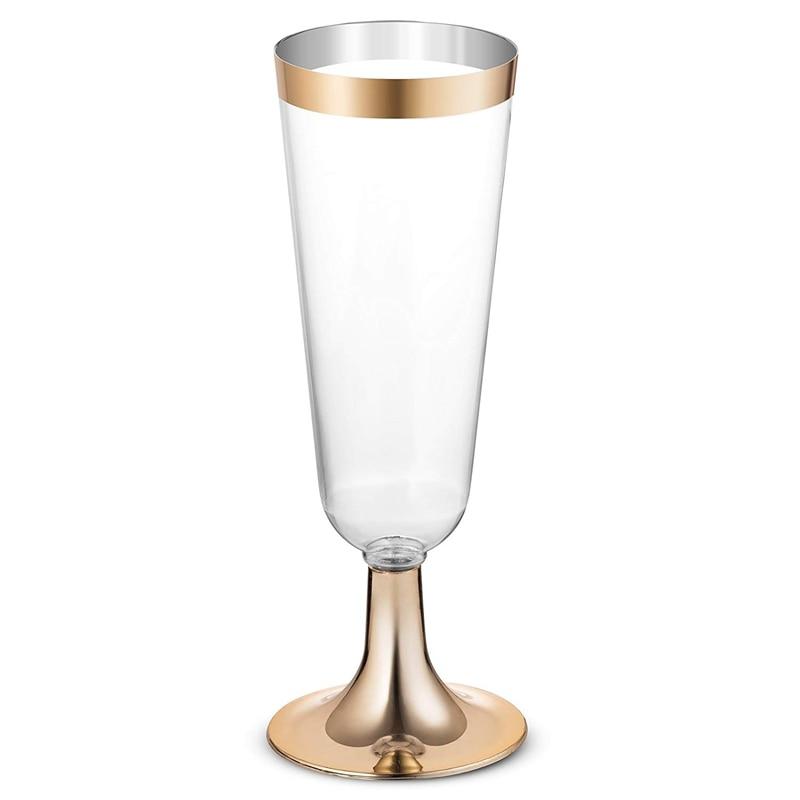 24 Пластиковые Золотые оправы для шампанского   5,5 Oz. Прозрачные Жесткие одноразовые вечерние и свадебные стекла