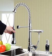 Hello Фирменная Новинка вытащить кран Torneira Da Cozinha Chrome Поворотный водопроводный кран 97168 раковина смеситель двойные ручки смеситель