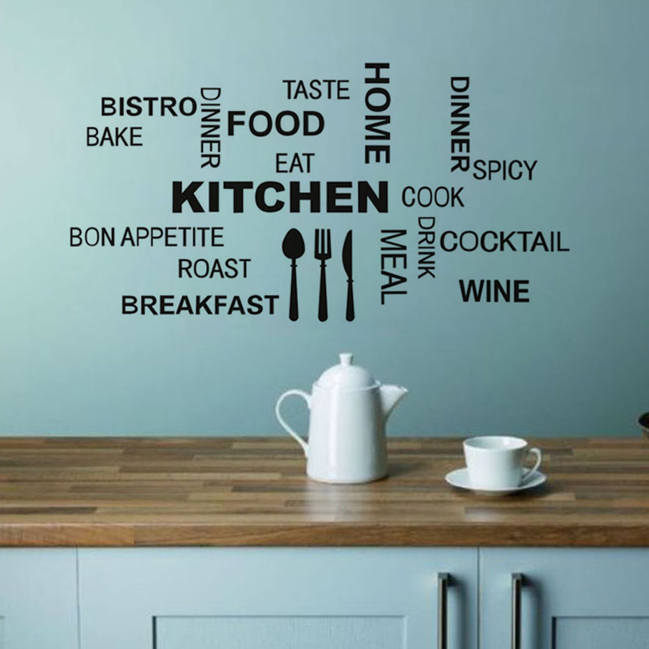 Kitchen Food Wall Stickers For Kitchen Restaurant Dining Room Decoration DIY Waterproof Wallpaper Art Decals Home Decor