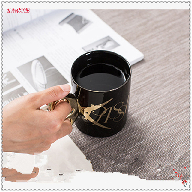 US $11 92 42% OFF|1pcs Classic Coffee Mug Creative Gold Handle Ceramic Cup  Office Water Cup Personalized Scissors Cup Leisure Bar Supplies 6ZDZ258-in