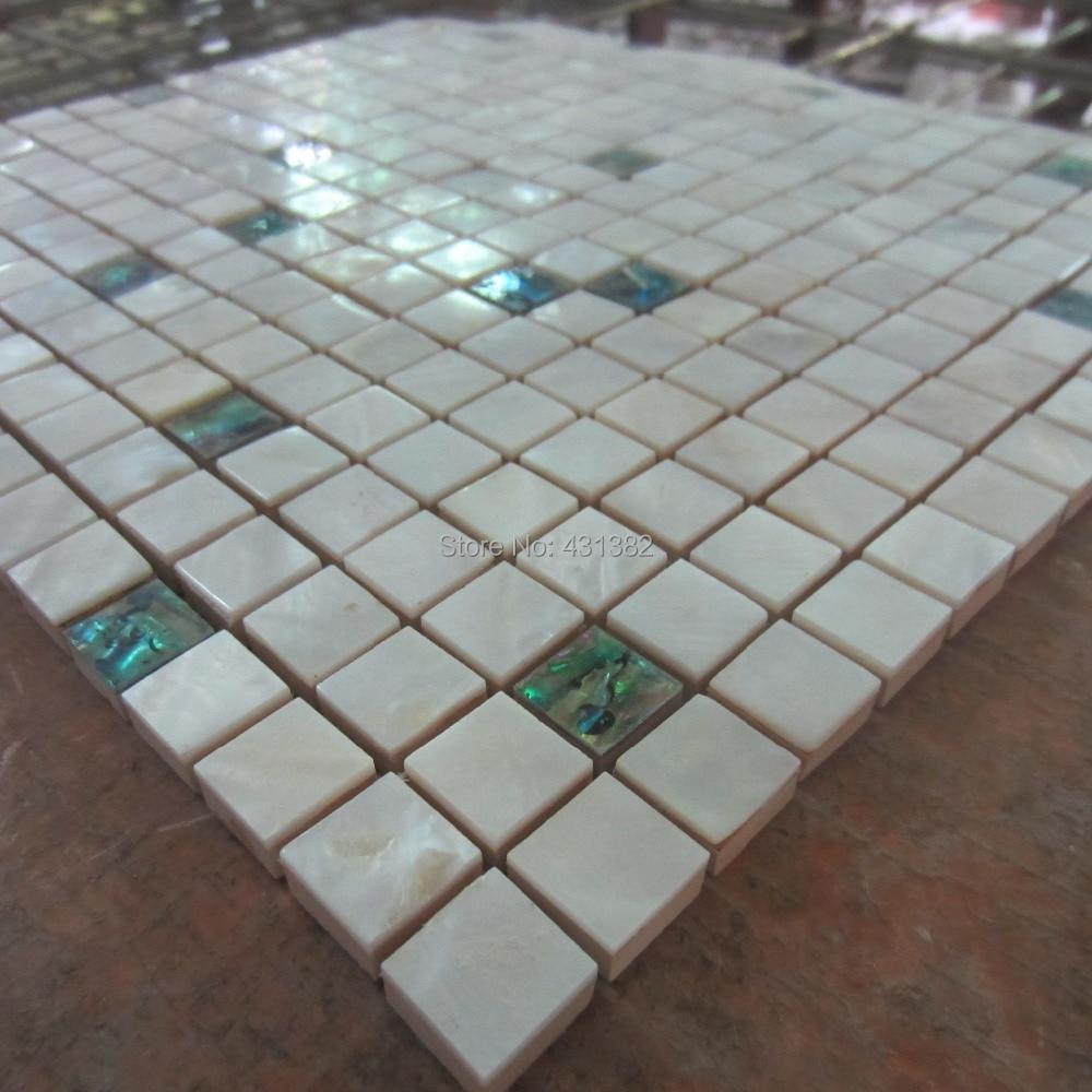 Mosaic Tiles Paua Shell With White Shell Tile Mixed Kitchen