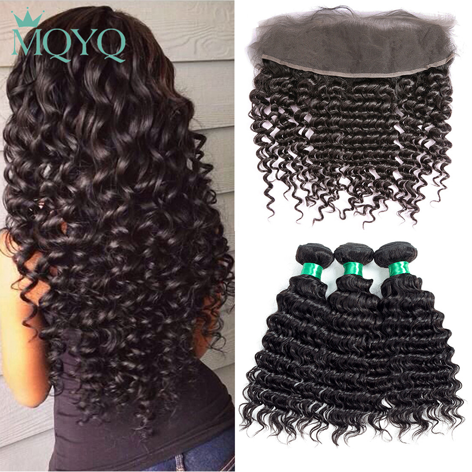 MQYQ Human Hair 3 Bundles Peruvian Deep Wave with Frontal Closure 13*4 Ear To Ear Lace Frontal Closure with Bundles Non Remy