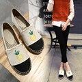 2017 Niñas Slipony Mujeres Zapatos de Los Planos Rhinestone Diseñador de la Marca Mocasines Planos Alpargatas De Lona de Cáñamo Horsebit holgazán Tachonado