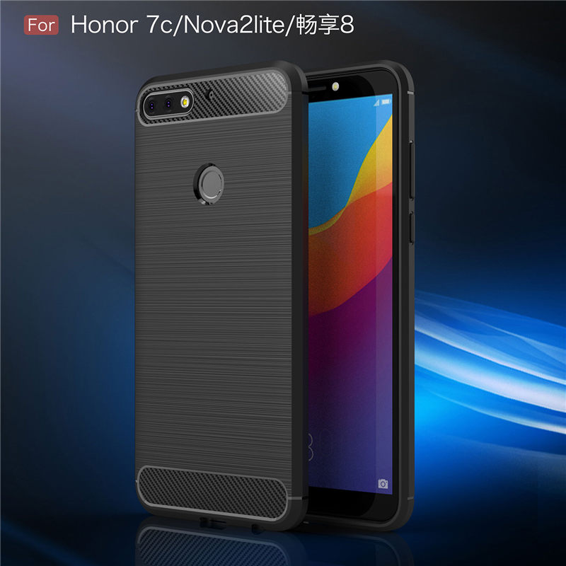 Thouport For Huawei Honor 7 Case Heavy Fashion ShockProof Cases Fitted Case Soft TPU Silicone Carbon Fiber Cover Full Protector