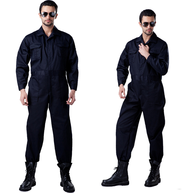High Quality men's  long sleeve workwear work coverall twill poly cotton work jumpsuit free shipping