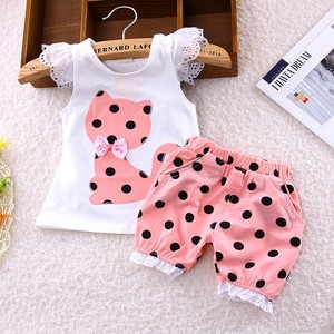 2017 summer Korean baby girls clothing set children bow cat shirt+shorts suit 2pcs kids polka dot clothes set suit free shipping(China)