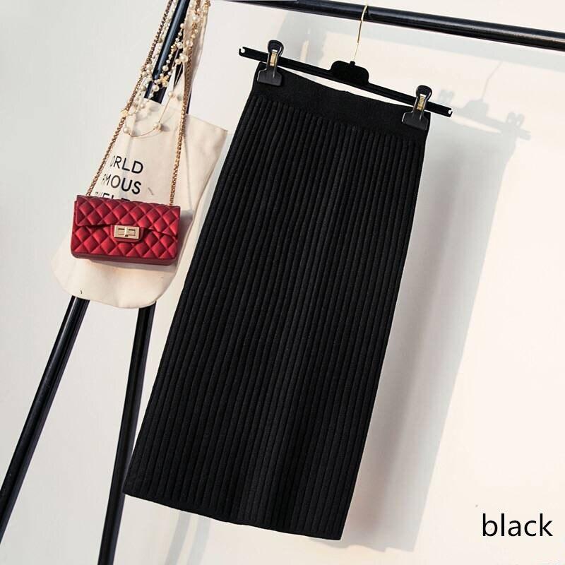Hanyiren Pencil Skirt High Waist 2019 Autumn Winter Women Elegant Knitted Bodycon Skirt Black Solid Ladies