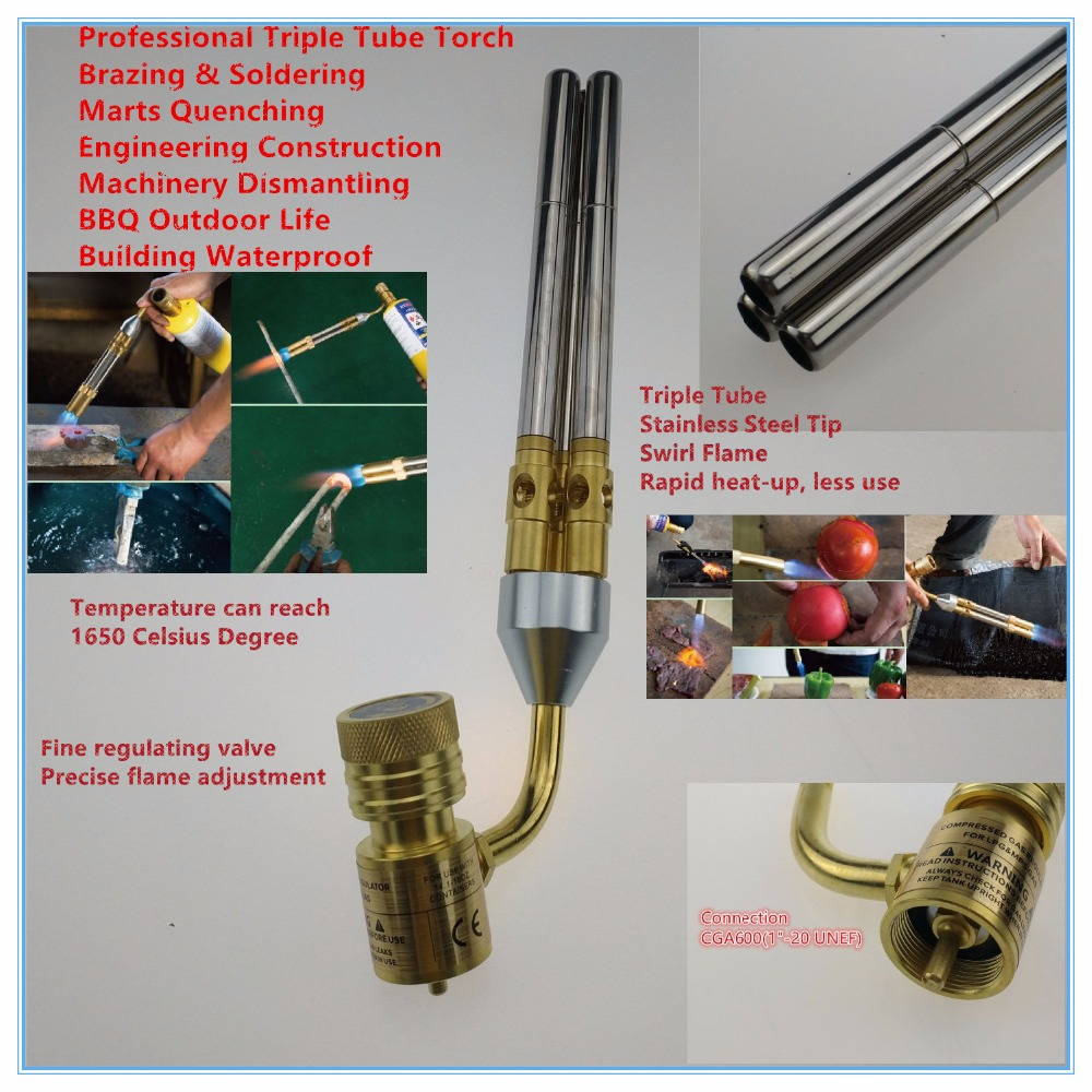 Mapp Gas Welding Torch Brazing Gun Super 3 Pipes Propane Gas Welding Plumbing Jewelry CGA600 Connection Burner Heater Blowtorch